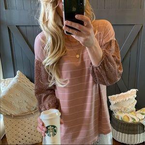 Lace Sleeve striped Boho blush blouse
